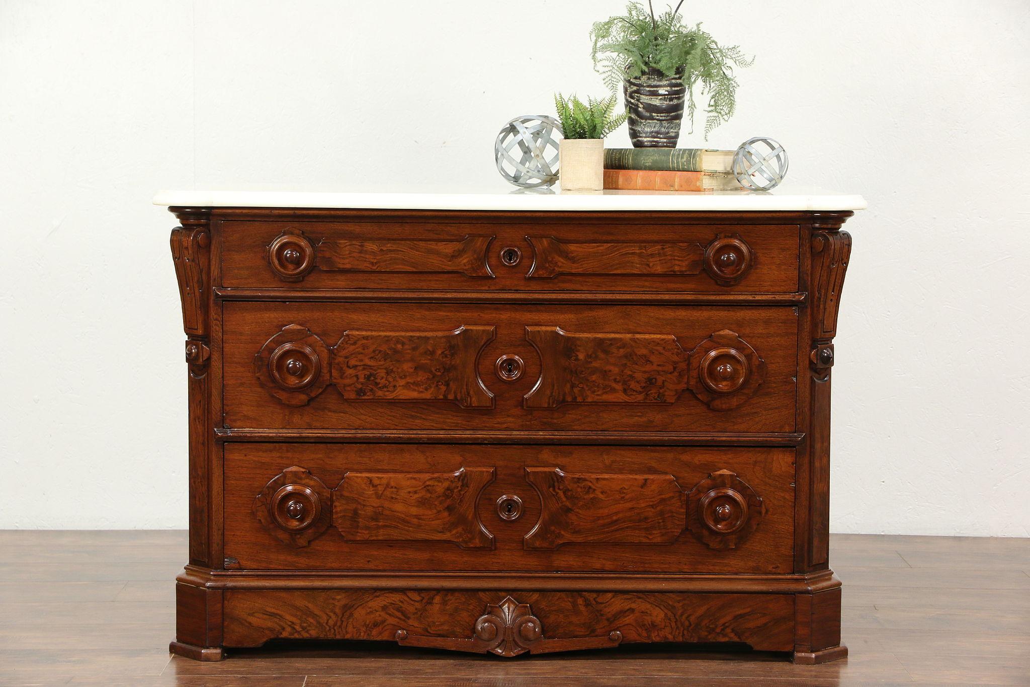 Sold Victorian Walnut Chest Or Dresser Marble Top Secret Drawer Signed Bruner Ny