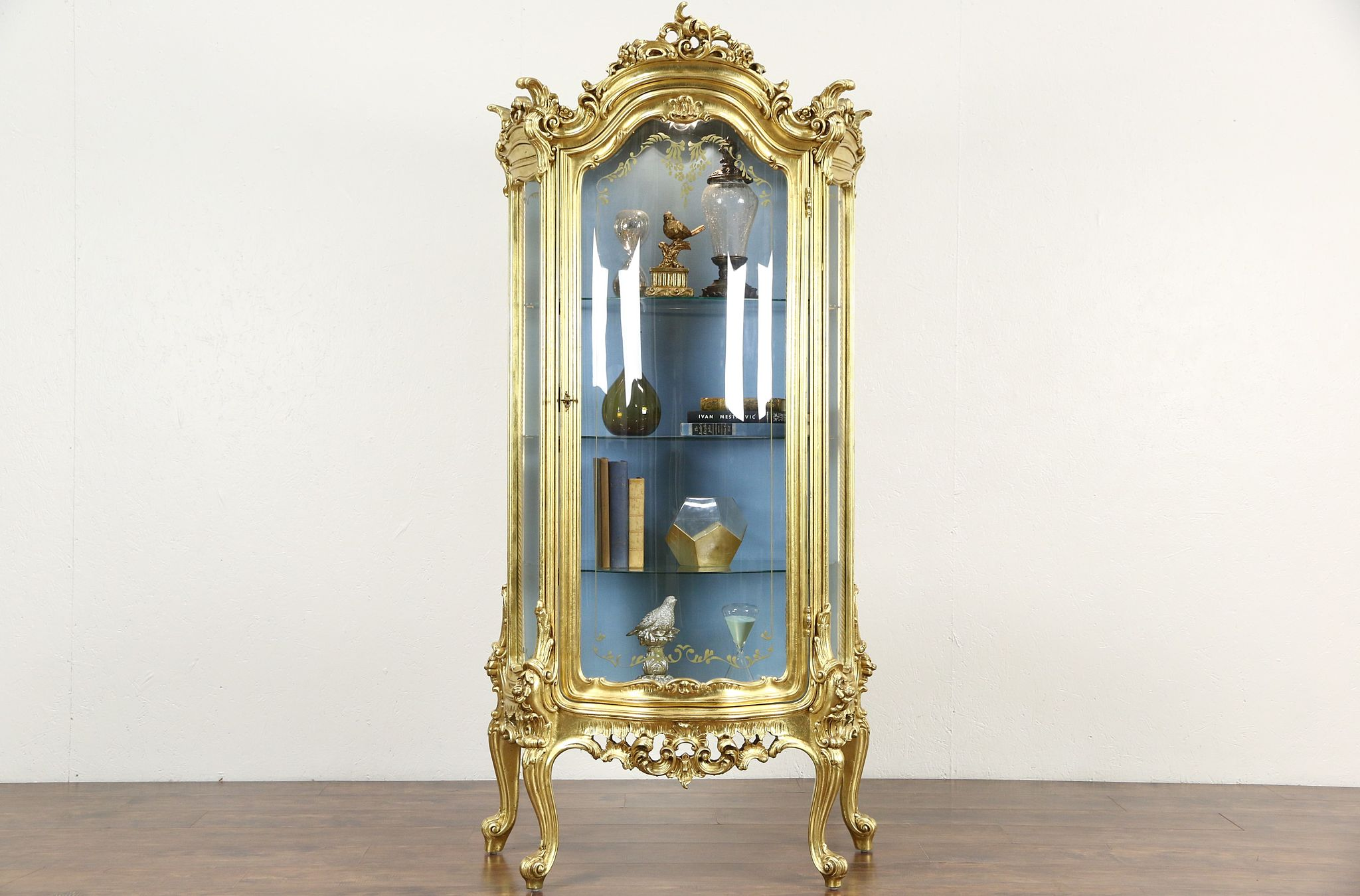 Gold Leaf Baroque Curved Glass Vintage Curio China Display Cabinet, Signed  Italy Photo