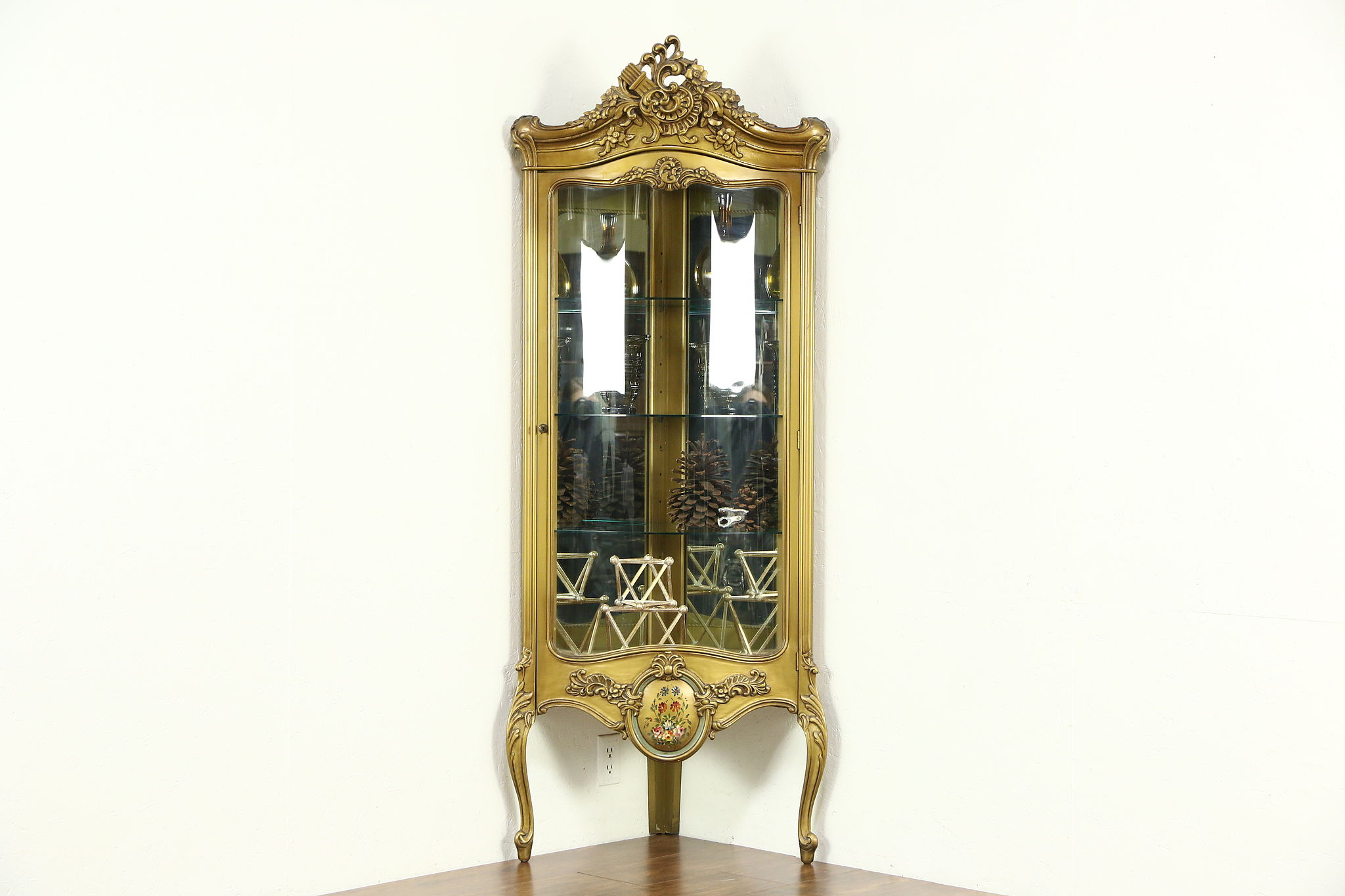 corner vintage curved glass curio or china display cabinet bronze finish