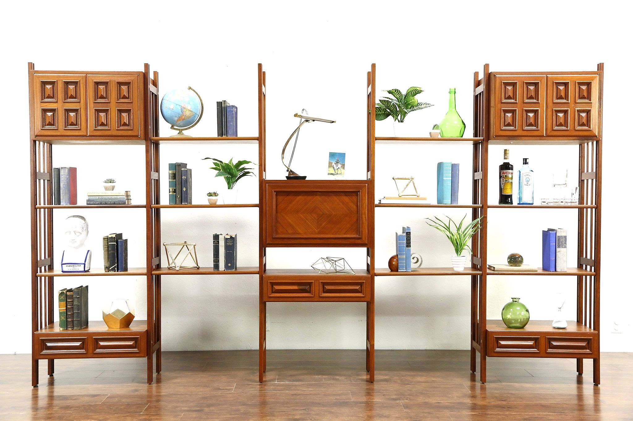 Image of: Sold Teak Midcentury Modern 1960 Vintage Modular Wall Unit With Desk 10 6 Long Harp Gallery Antiques Furniture