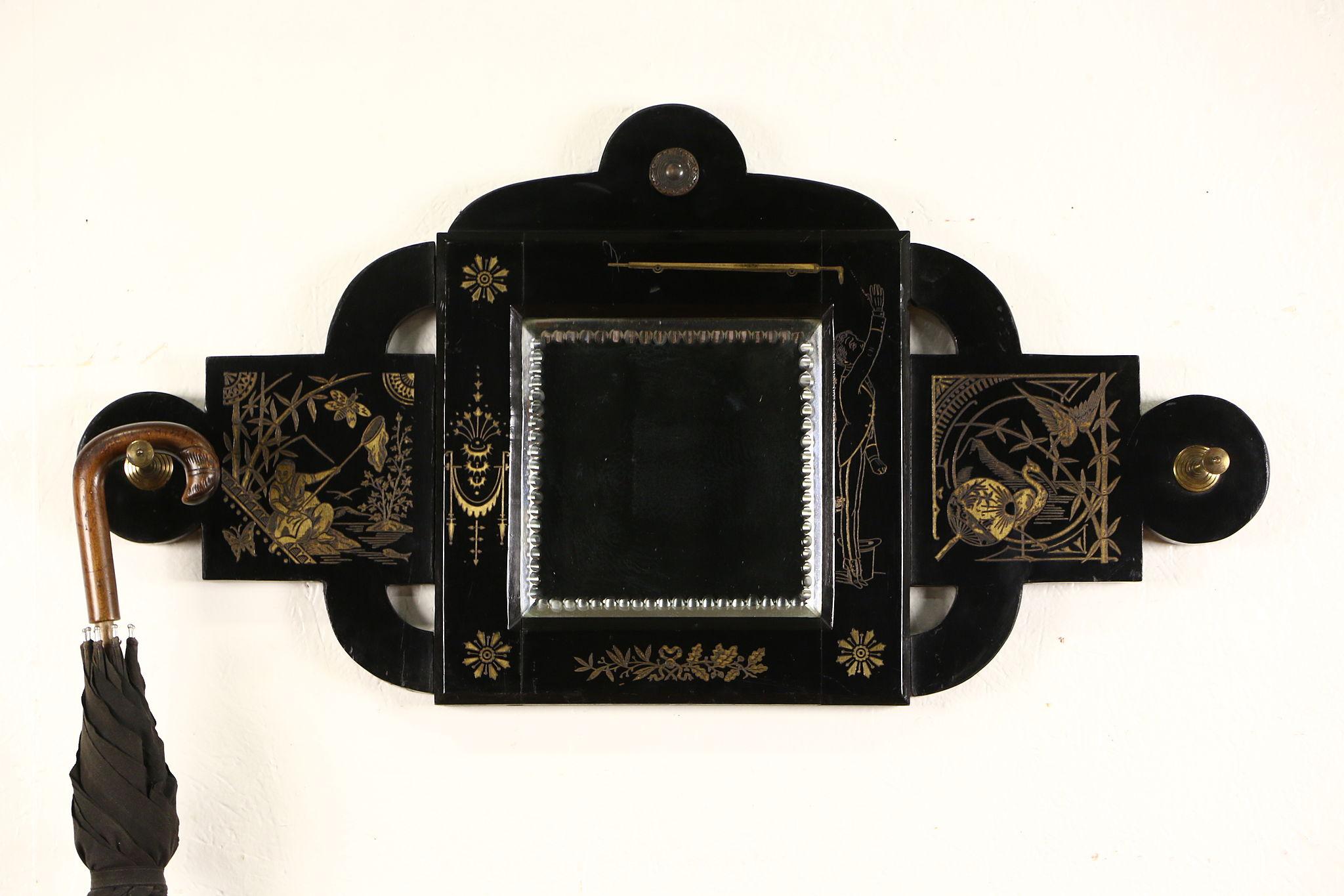 Sold Eastlake 1870 S Antique Beveled Mirror Hat Hooks
