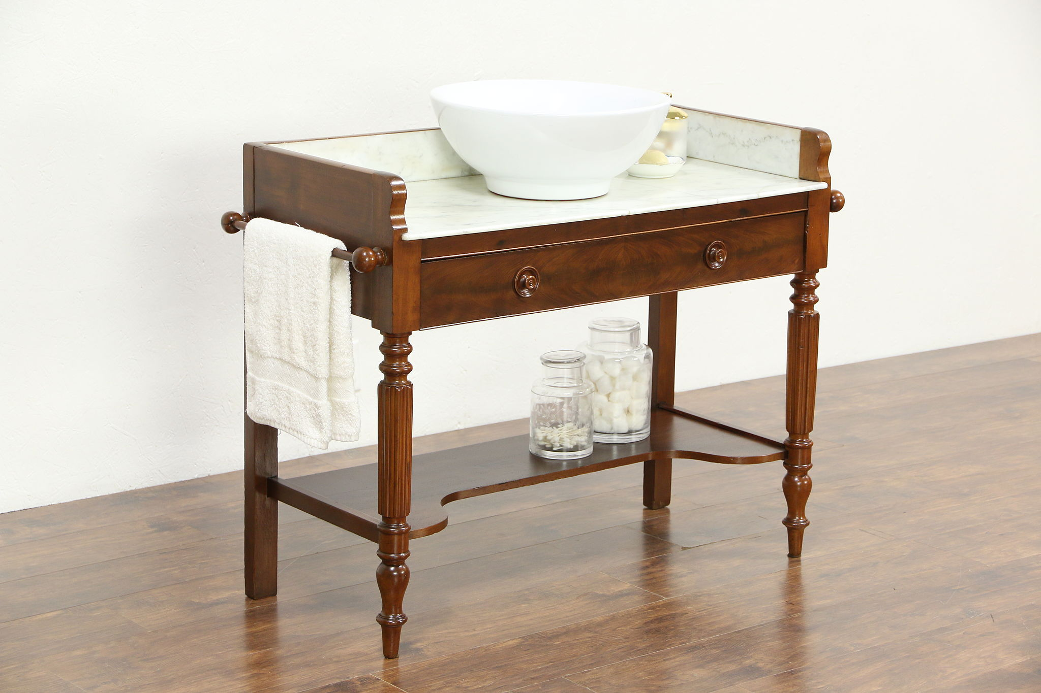 Mahogany Antique 1890 Marble Top Wash Stand Server Or Bar