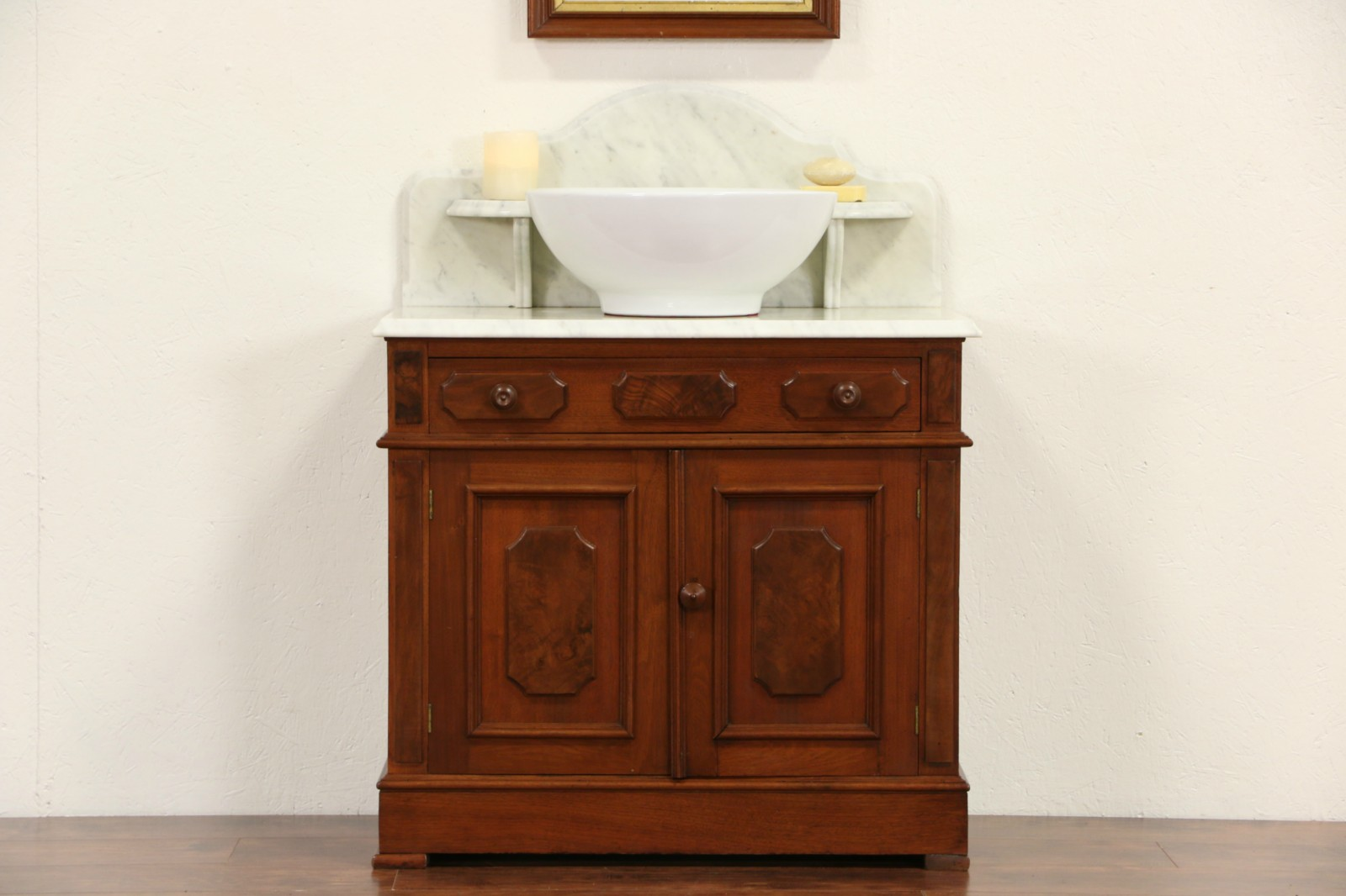 Picture of: Sold Victorian 1870 S Antique Marble Top Washstand Bar Sink Vanity Or Small Chest Harp Gallery Antiques Furniture