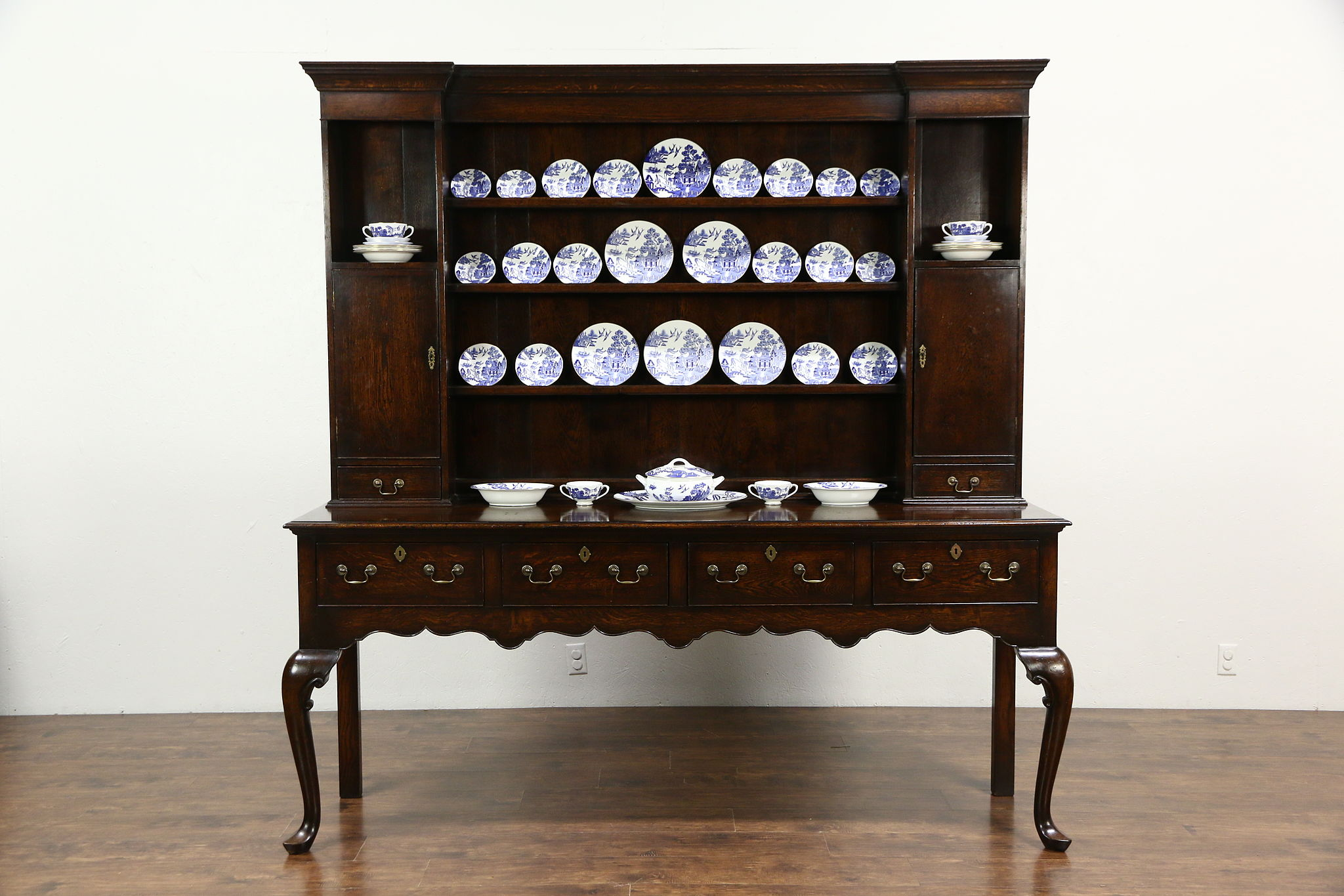 Georgian Style Pewter Cupboard Or Oak Welsh Dresser 1920 Antique