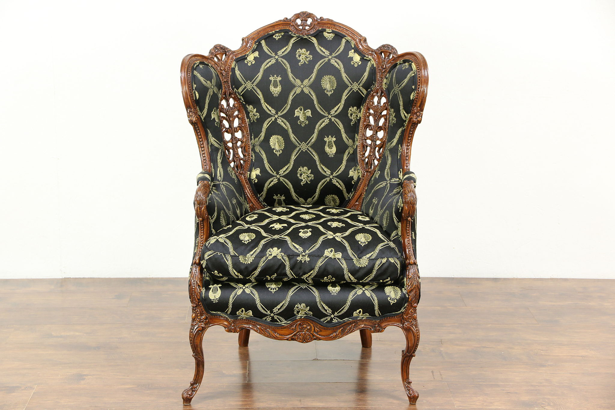 Carved 1940 s Vintage Wing Chair New Upholstery Down Cushion