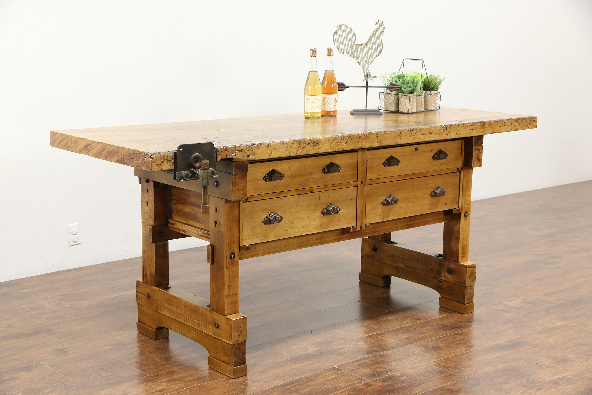 SOLD - Carpenter Antique 1900 Maple Workbench, Kitchen Island, Wine ...