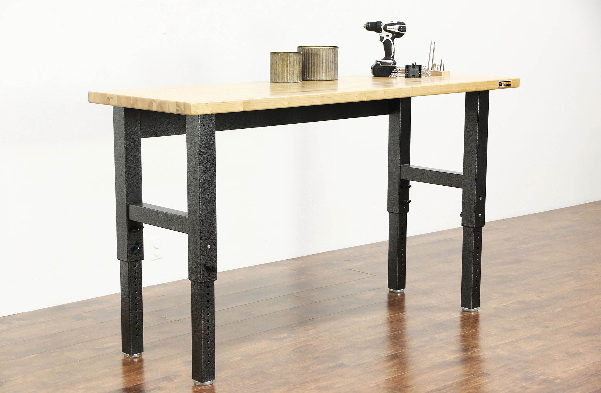 SOLD - Gladiator Maple Butcher Block Adjustable Height Workbench ...