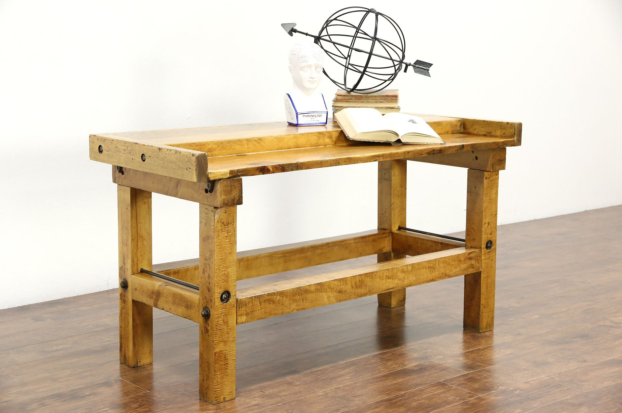 Maple Antique Carpenter Workbench, Kitchen Island Counter, Wine Tasting  Table