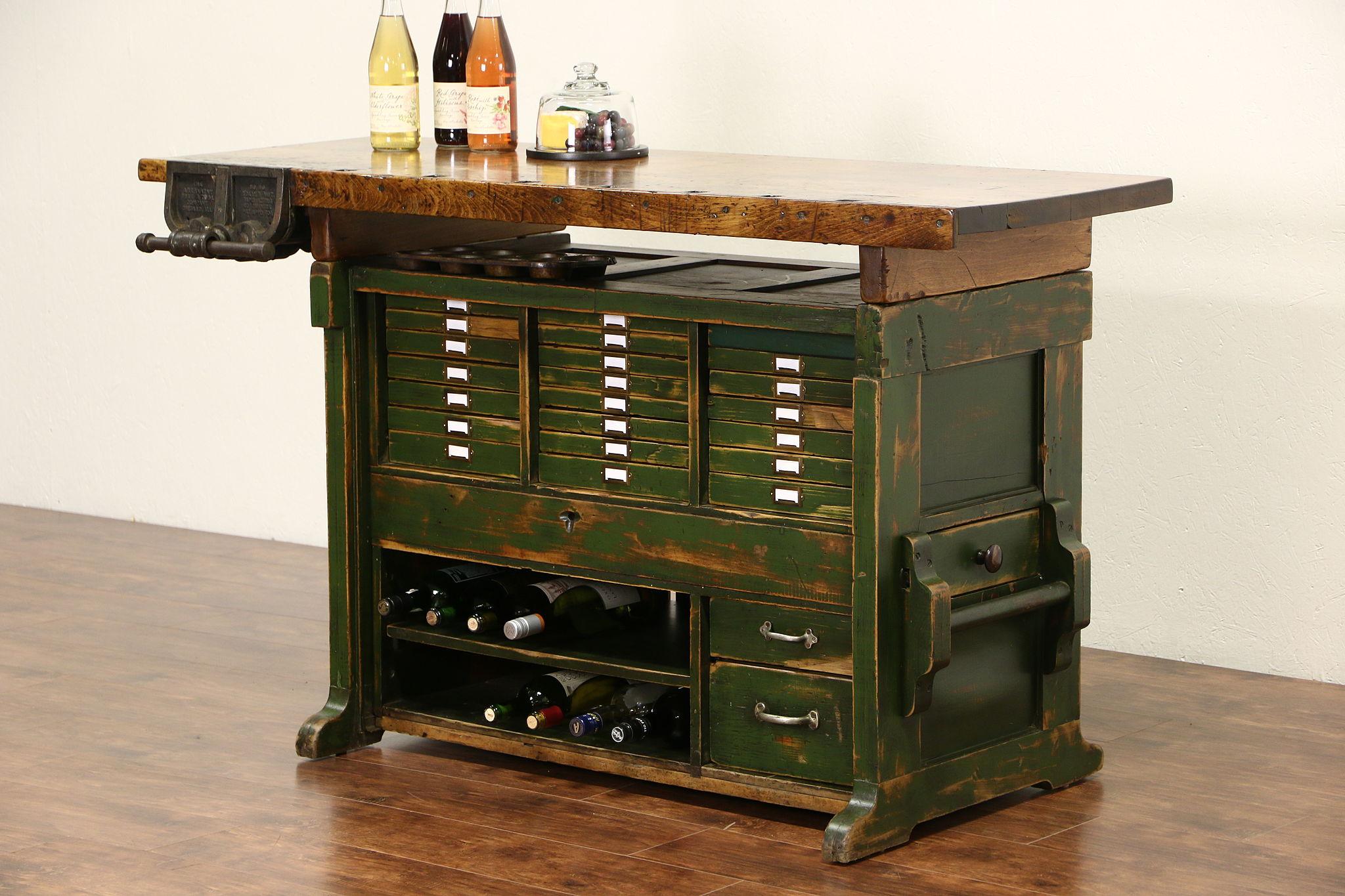 Antique 1900 Carpenter Workbench Kitchen Island Signed Abernathy Chicago