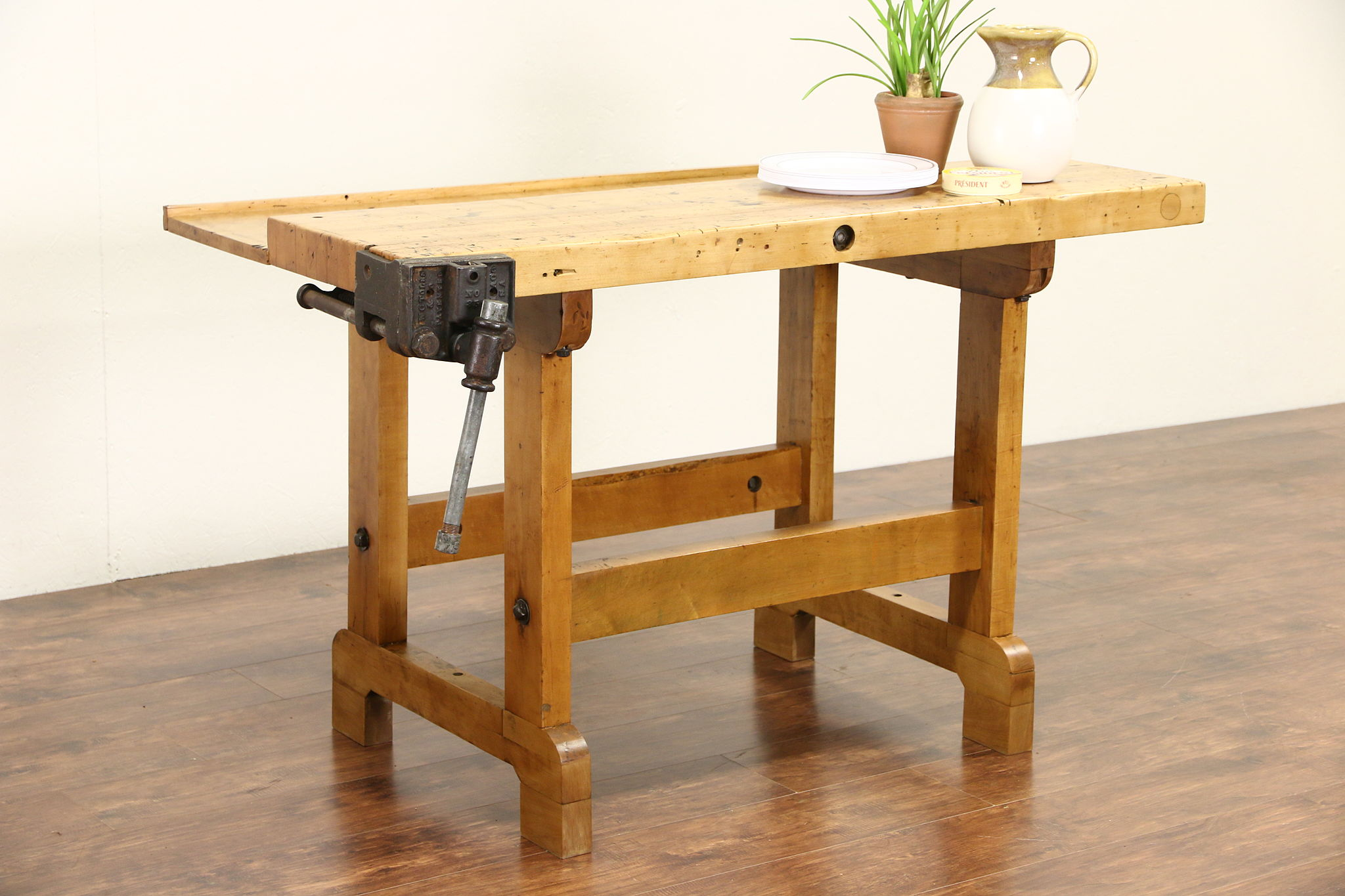 Sold Butcher Block Maple Work Bench Kitchen Island Wine Table Clamp Pat 1884 Harp Gallery