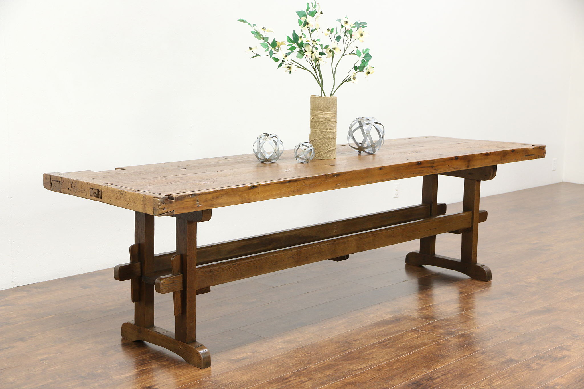 Carpenter Workbench Rustic Antique 1900 Dining or Kitchen Table, 9\' Long