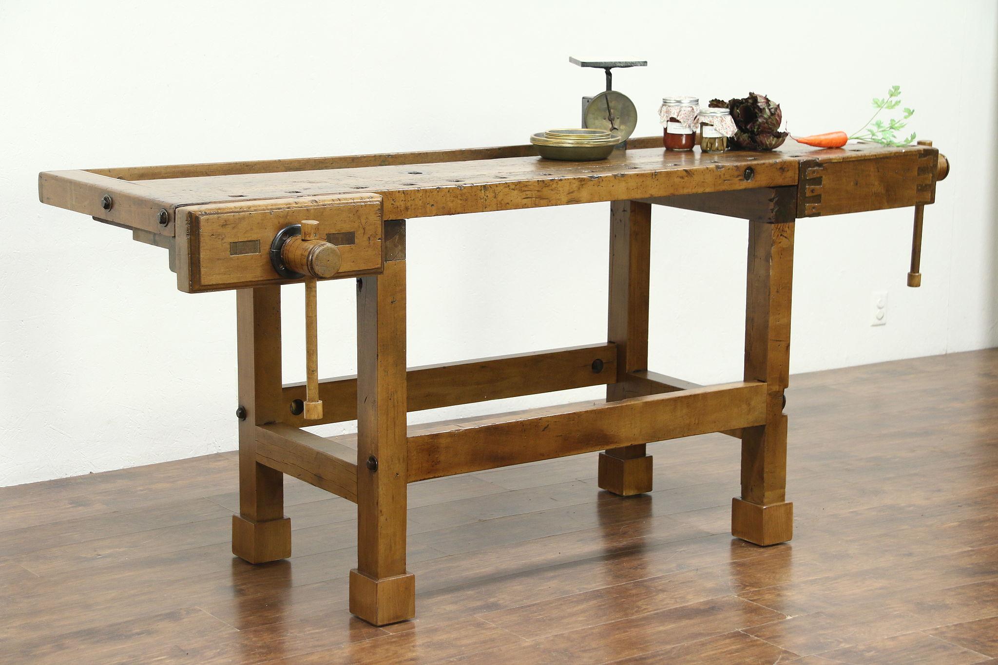 Carpenter Salvage Antique Workbench, Kitchen Island Or Wine U0026 Cheese Table