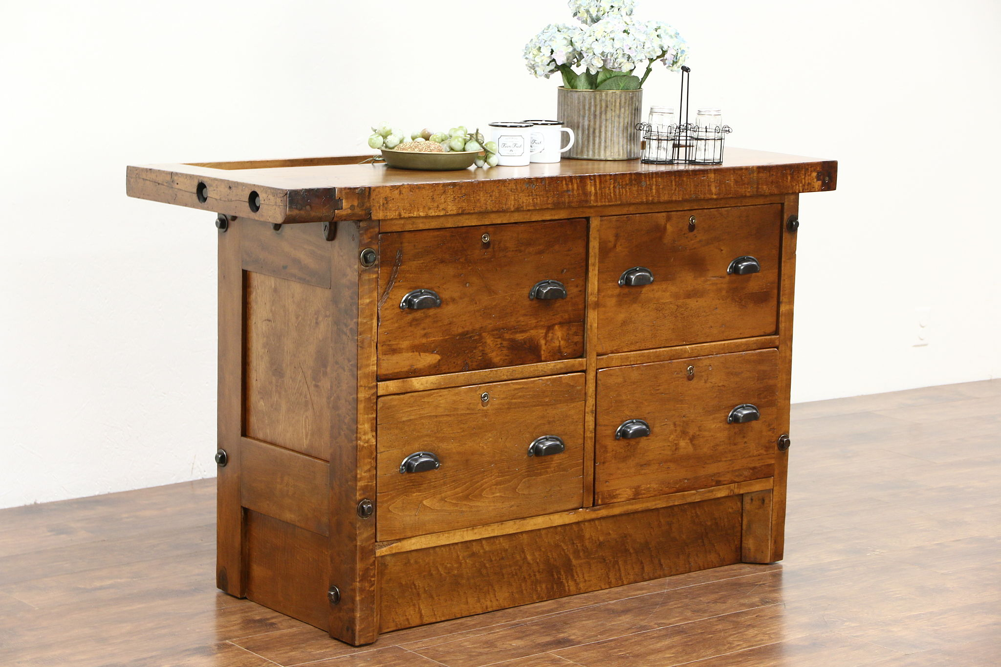 SOLD Kitchen Island or Wine Cheese Counter Maple 1925 Antique