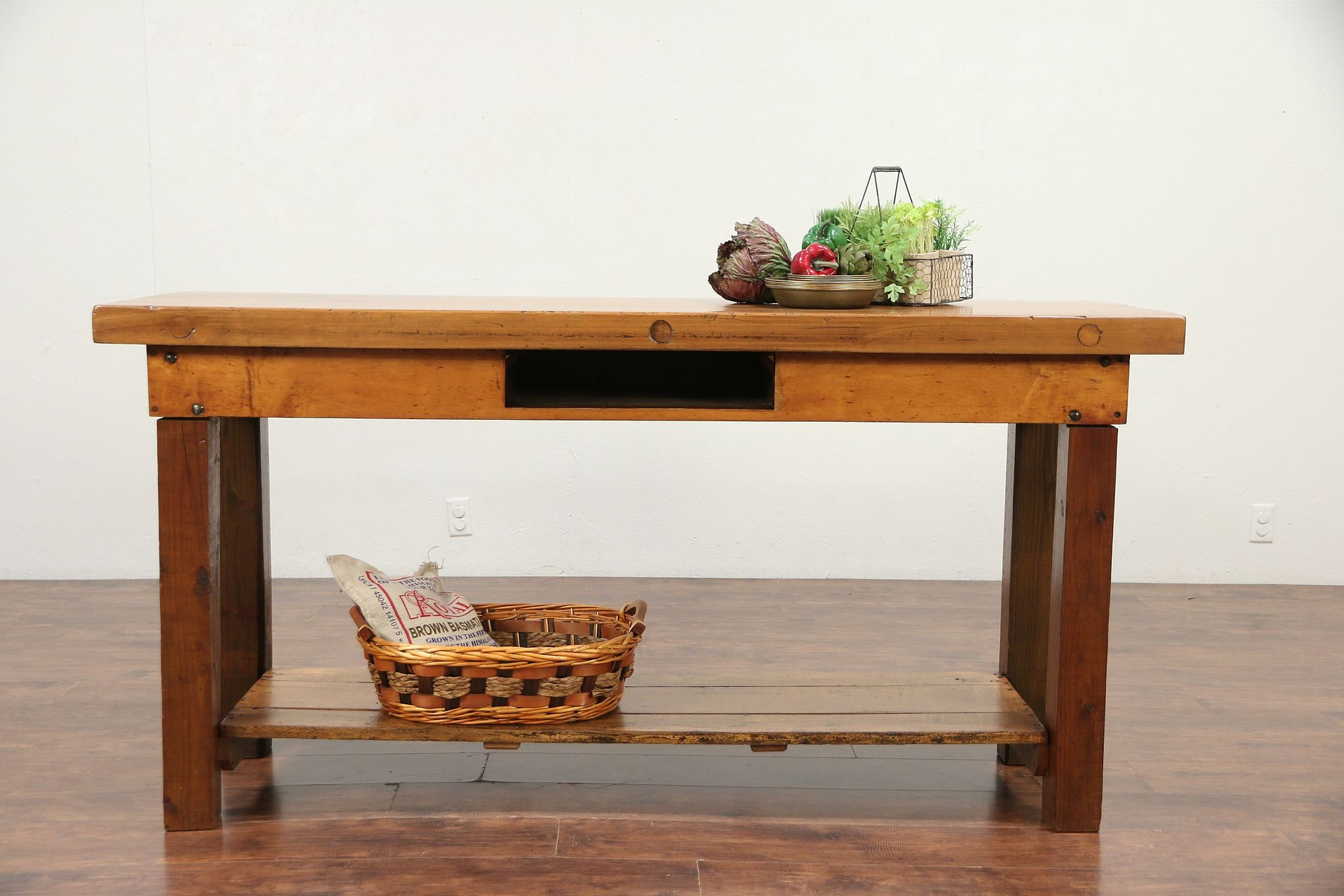 Sold Primitive Antique Work Bench Kitchen Island Wine Table Tv Console 29605 Harp Gallery Antiques Furniture